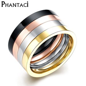 4 pcs set 316L Titanium Stainless Steel Rings For Cool Men or Women Gold Color Gothic Finger Ring Glazed Fashion Cool Jewelry