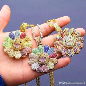 Pop Haute USpecial USpecial or Rotatif tournesol collier pendentif hommes Hip Hop Collier bijoux à la mode des femmes Glacé collier pendentif