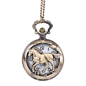 new unisex retro vintage big horse pattern hollow skull FOB pocket watches mens women chain nacklace bronze gift watches clock