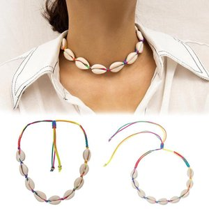 Bohemian Hawaiian Women collares Cowrie Shell Colorful Braided Rope Choker Adjustable Necklace Woman's accesories