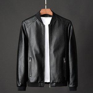 Veste en cuir PU Hommes Automne 2020 Faux Manteaux en cuir solide Couleur Hommes Vêtements Slim Fit Casual Pardessus Homme Vêtements