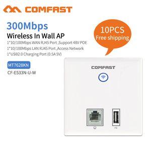 10pcs 300Mbps em Wall AP WiFi Access Point para Apoio a Projetos Hotel WiFi AC Gestão RJ45 + Cliente USB sem fios Wall AP