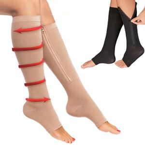 Zipper compressione archivio traspirante manica calzini di supporto per gli uomini donne Brace calzino di nylon del ginocchio Stovepipe punta aperta calzini lunghi