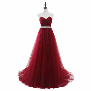 Cheap Long Tulle Burgundy Prom Dresses with Sequin Beaded Belt Strapless Corset Evening Gowns Lace up Back Senior Formal Party Dress