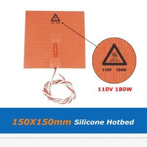1 개 110V 180W 150 * 150mm 실리콘 온상 패드 3D 프린터 부품 실리콘 고무 히터 열 침대