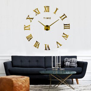 muhsein 2019 New 3D Roman Numeral wall clock Decorative Living Room Fashion Wall Stickers Free shipping Y200109