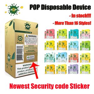 Neueste POP Einwegvorrichtung Pod 16 Farben mit Sicherheits-Code-Aufkleber Vape Pen Starter Kit 280mAh Akku 400+ Puffs 1,2 ml Patrone Pod
