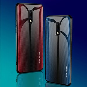 Caixa de Telefone De Vidro Temperado de textura à prova de choque para Oneplus 7T Pro com rebordo de Silicone Macio