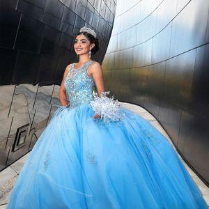 Light Sky Blue Ball Clange Prom Trange Trane Gewel Crystals Crystals Tailerera Платья без спинки Tulle Вечерние платья Формальная вечеринка