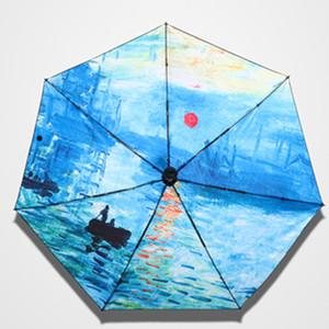 Folding Mini Umbrella Female Windproof Art Paraguas Monet Oil Painting Umbrella Rain Women Quality Small Pocket Umbrellas