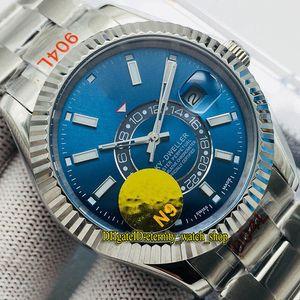 N9 лучшая версия Sky-Dweller m326934-0003 синий циферблат Cal.9001 Автоматический Двунаправленный Вращающийся Безель Мужские Часы Стальной Корпус Сапфировые Часы