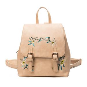 Vintage Girl adorable backpack Women Flower Embroidered shoulder School Bag Embroidery Women Cute Bag High Quality
