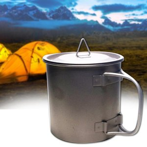 Hervidor de agua de la manija de la botella de agua que acampa al aire libre durable viaje de titanio sólido con la tapa 400ML Ejército Senderismo cantina