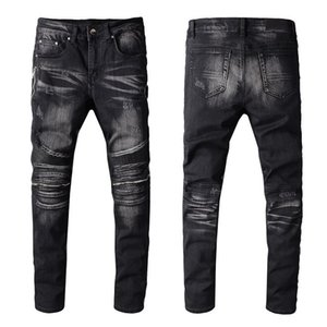 Men's PU leather patchwork biker jeans for motorcycle Slim skinny zippers black stretch denim pants