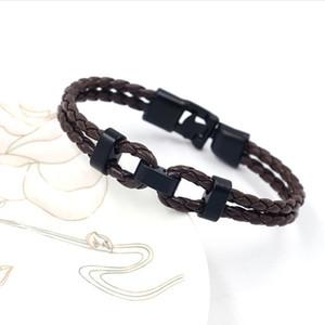 Bracelet tissé à la main de bijoux multicouche en cuir tressé par corde bracelet pour les hommes bracelet en cuir brun noir