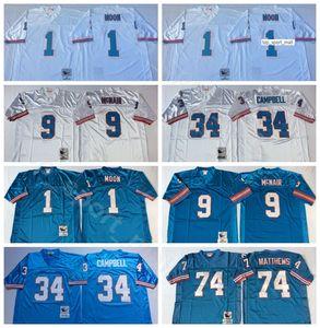 NCAA Futbol 34 Earl Campbell Jersey 1 Warren Moonn 9 Steve McNair 74 Bruce Matthews 78 Cuyley Culp Mavi Beyaz Erkek Bağbozumu