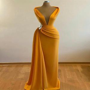 Orange Deep V Neck Prom Dresses Simple Ruffles Floor Length Evening Gowns Plus Size Women Formal Wear Cheap