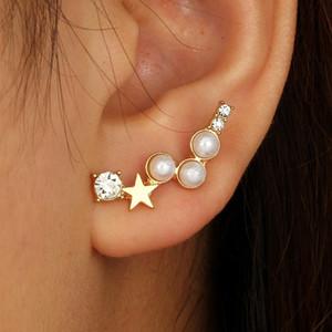 Mulheres Brincos Simples Geométrica Estrela De Cinco Pontas Pérola Bijoux Com Strass Brincos Irregulares Jóias Acessórios Oorbellen