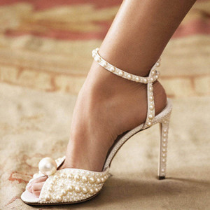 pearls white women wedding dress sandals high heeled fashion design straps female party prom sandals summer ladies sandals zapatos mujers