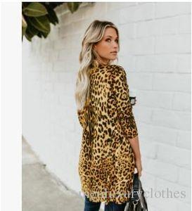Женщины V-образным вырезом Sexy Leopard пальто Мода Длинные кнопки Печать Одежда Куртка весна осень Дизайнер ветровки