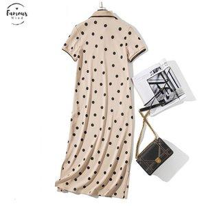 Verano Polo vestido del collar del soporte Mujeres punto de impresión más la camiseta floja de algodón Maxi vestidos de bolsillo de manga corta Negro albaricoque vestido largo