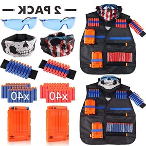 Children Kids Tactical Vest Outdoor Game Tactic Vest Holder Kit Guns Toy for Outdoor Games Series Bullets Kids Toys Sets