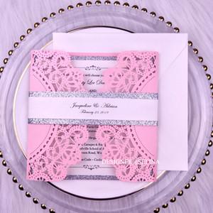 Luxury Pink Silver Glitter Bottom Wedding Invites with Glitter Belt DIY Laser Cut Pocket Invitation Kit for Quinceanera Bridal Shower Invite