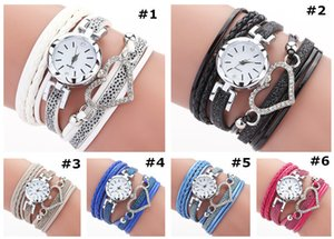 Fashion Women Love Heart Watch Ladies Crystal Bracelet Leather Watches Small Dial Quartz Winding Wrist Watches PU Leather Watch Gift