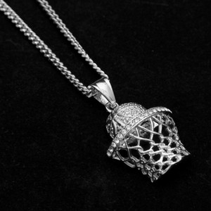 mode gros-européens et américains jewelryDiamond panier tir Black Pendant DJ hip hop boîte de nuit collier pendentif