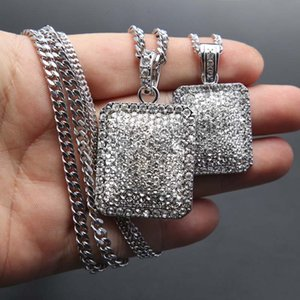 2017 Mens Hip Hop Chain Fashion Jewelry Full Rhinestone Collares pendientes Gold Filled Hiphop Zodiac Jewelry Men Cuban Chain Necklace Dog Tag