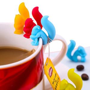 Sevimli Salyangoz Sincap Şekli Silikon Çay Poşeti Tutucu Kupa Mug Çay Poşeti Klip Şeker Renkler Hediye Seti İyi Çaylar Araçları Çay demlik RRA2742