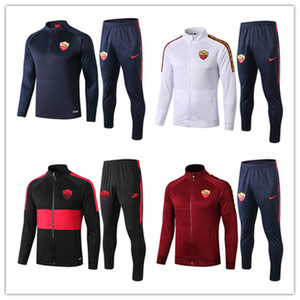 2020 2021 Roma mens full jacket Strootman long sleeve kits tracksuits soccer jersey 20 21 Dzeko Rome football training suits shirt