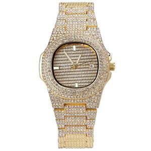 Cinturino orologio al quarzo con diamanti Bracciale Hiphop Gioielli Bling Cubic Zirconia Ice Out Catene placcate oro Mens Luxury Hip Hop Link Chain