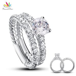 Juego de anillos de compromiso de aniversario de bodas de pavo real de 1 quilate, corte redondo, sólido, plata de ley 925, conjunto Cfr8010 J190716