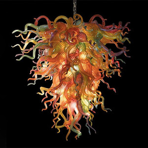 Commercio all'ingrosso ODM Stained Glass Flower lampadario di Murano Glass Chandelier moderni Pendenti LED per banchetto di nozze Ballroom di trasporto