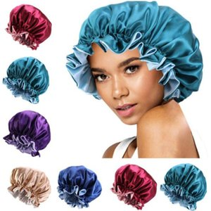New Silk Night Cap Hat Double side wear Women Head Cover Sleep Cap Satin Bonnet for Beautiful Hair - Wake Up Perfect Daily Factory Sale z96