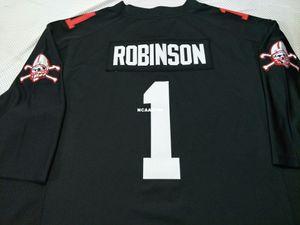 vintag Nebraska Cornhuskers 1. Siyah Wandale Robinson gerçek nakış Kolej Futbol Jersey Boyut veya özel herhangi bir ad veya numara formayı-4XL S