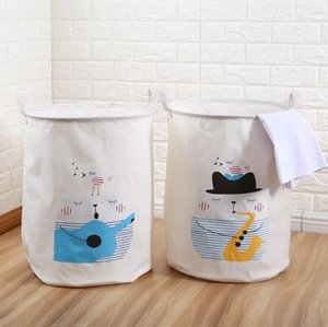 Beige Large Storage Bag Canvas kid Cartoon Laundry Bags basket Toy Clothes Organizer Children Baby Play Mat Home Decor
