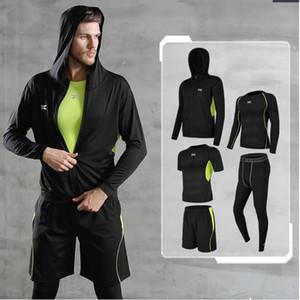 5 Pcs / ensemble hommes de survêtement Gym Fitness Compression Sport Costume Vêtements De Course Jogging Sport Wear exercice Workout Collants