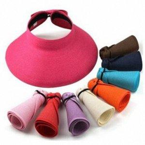 2020 Clip Cap ancho del borde rueda para arriba el verano de las mujeres señora Sun Hat visera de playa de la paja El Sombrero de sol Tenis Golf plegable Nueva 7Ruv #