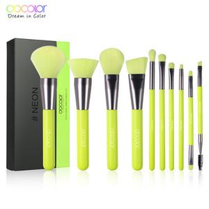 Docolor Luxo Fluorescente Cor Verde Pincéis de Maquiagem Definido Para Fundação Em Pó Blush Sombra Corretivo Lip Eye Make Up Ferramentas de Beleza Pincel