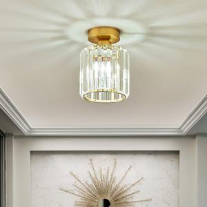 lumières moderne petit lustre en cristal lampe carré lustre d'or de luxe luminaire plafonnier LED pour couloir balcon entryway