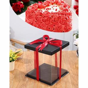20CM / 25CM / 35CM Gift Box plástico transparente Organizador com tampa preta e base para presentes de casamento Urso Rose bolo de aniversário da flor