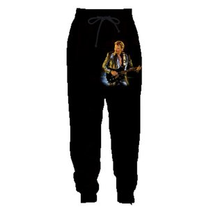 Johnny Hallyday 3D Imprimer Sweatpants Hommes / femmes gothiques Casual Joggers longues Pantalons Garçons taille élastique Casual loose pantalon noir