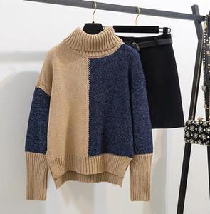 2020 الشتاء المرأة اثنان من قطعة Dreees عرضي مكتب مجموعة ذوي الياقات العالية مطابقة لون البلوز حك الخارجي + الصوف واحدة الصدر البسيطة التنورة البدلة