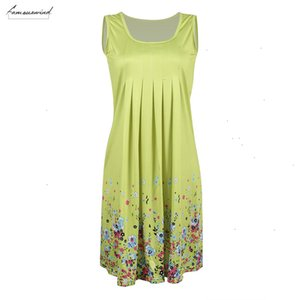 Floral Womens Sundress Knee Length Summer Loose Sleeveless Dresses New Plus Size Good Quality Drop Shipping Designer Clothes