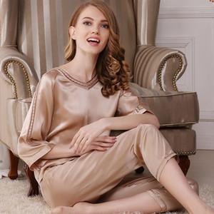 Women's Sleep & Lounge summer 100% silk Pajama Sets woman T7702