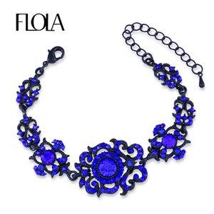FLOLA Luxury Party Crystal Bracciali Donna Link Chain Strass Bracciali Bangles Femme Bridal Wedding Blue Gioielli brta50