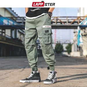 LAPPSTER bolsos soltos calças de carga 2019 Hip Hop Baggy Harem Pants Exército Verde Track Pants Algodão Sweatpants Hype Corredores PantsMX190903