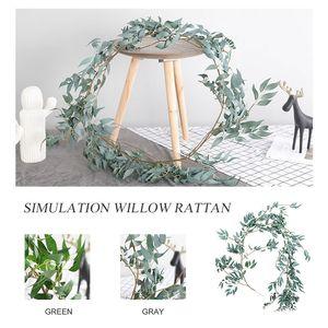 Faux festosa corona Grigio / Verde 1.7M di simulazione di salice foglie artificiali di eucalipto rattan artificiale Willow Vite partito creativo